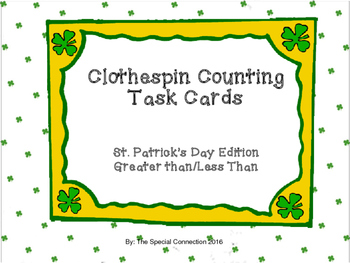 Clothespin Counting Task Cards :Greater Than/Less Than St.