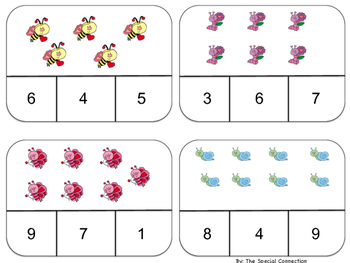 Clothespin Counting Task Cards: Valentine's Day Edition Level 1