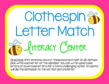 Clothespin Letter Match FREEBIE for Literacy Centers!