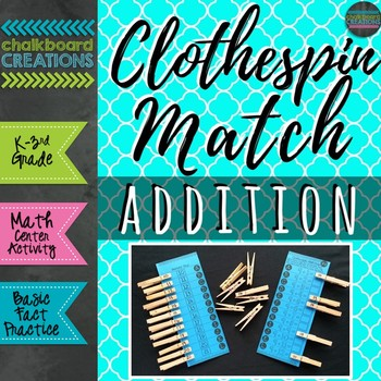 Clothespin Match: Addition (Math Center for Basic Fact Practice)