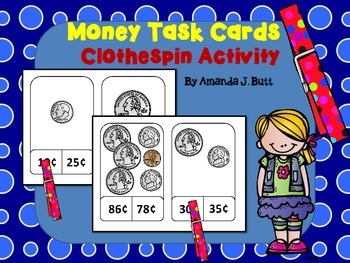 Clothespin Money Task Cards for Centers: Counting Coins: First Grade; Autism