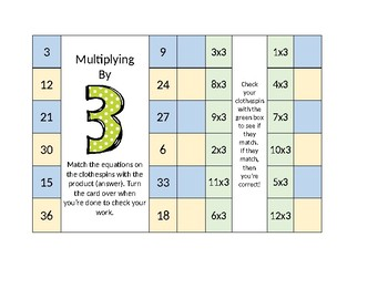 Clothespin Multiplication Cards