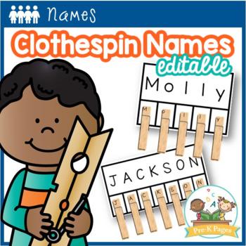 Clothespin Name Activity Editable