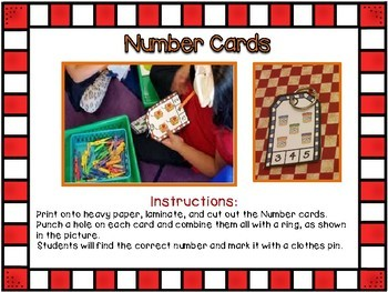 Clothespin Number cards -Back to School Edition
