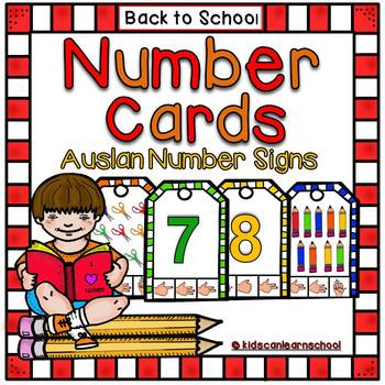 Clothespin Number cards - Back to School Edition with Auslan Number signs