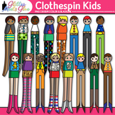 Clothespin People Dolls Clip Art: Writing Spacemen Graphics {Glitter Meets Glue}