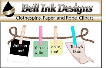Clothespin, Rope, and Paper Clipart