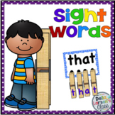 Clothespin Sight Word Task Cards (editable)
