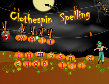Clothespin Spelling October - SMARTBOARD file