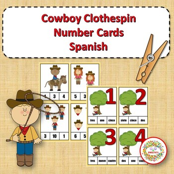 Clothespin Task Card Number Activity - Cowboy Theme - Spanish