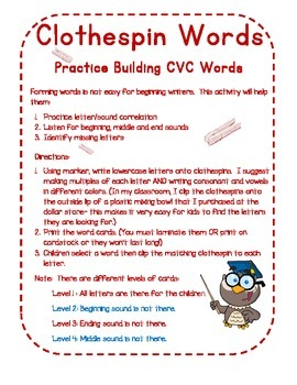 Clothespin Words: Practicing Building CVC Words