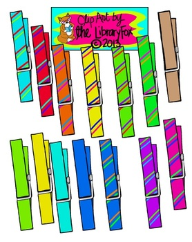 Clothespins Clip Art for Personal or Commercial Use