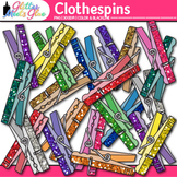 Clothespin Clip Art {Rainbow Glitter Pins for Worksheets &