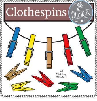 Clothespins (JB Design Clip Art for Personal or Commercial Use)