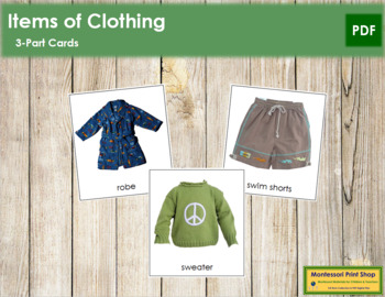 Clothing: 3-Part Cards
