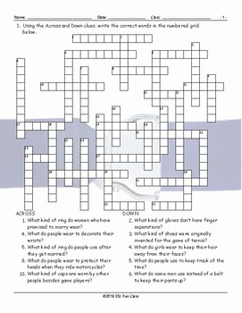 Clothing Accessories-Footwear Crossword Puzzle