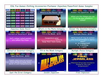 Clothing Accessories-Footwear Jeopardy PowerPoint Game Slideshow