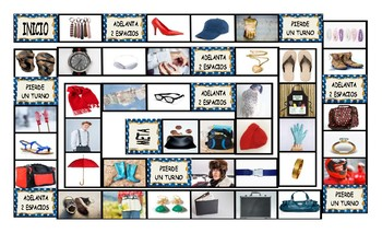Clothing, Accessories, Footwear, and Jewelry Spanish Legal Size Photo Board Game