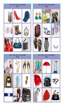 Clothing, Accessories, Footwear and Jewelry Tic-Tac-Toe or Bingo