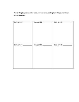 Clothing Accessories Worksheet / La Ropa y Los Accesorios
