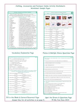Clothing, Accessories and Footwear Combo Activity Worksheets