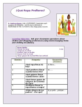 Clothing Activity (with Stem-Changing Verbs)