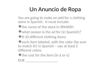 Clothing Ad - Avancemos 4.1
