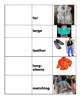 Clothing Adjectives with pictures and English word