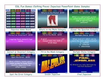 Clothing Articles Jeopardy PowerPoint Game Slideshow
