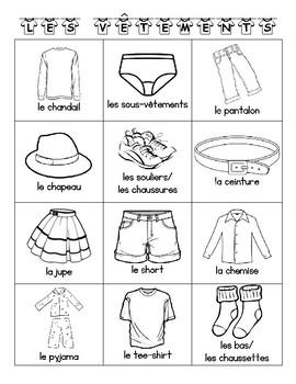 Clothing BINGO in French