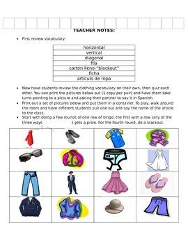 Clothing Bingo/Bingo (la ropa)