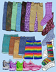 Clothing, Pants, Shorts, Jeans, Shoes, Socks - Realistic Clip Art in Color & BW