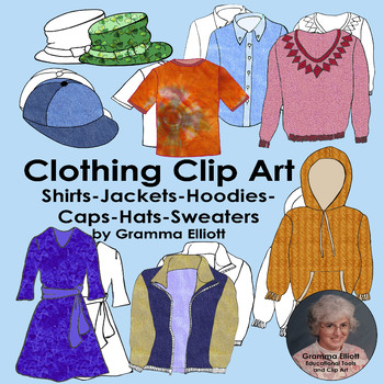 Clip Art of Shirts - Hoodies - Jacket - Sweater - Caps - Realistic color - BW