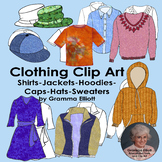 Shirts - Hoodies - Jacket - Sweater - Caps - Clip Art in Realistic Color - BW