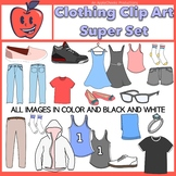 Clothing Clip Art Dresses, Shoes, Tee-Shirts, Socks, Pants. Jerseys, Set 1