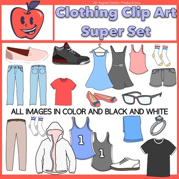 Clothing Clip Art Dresses, Shoes, Tee-Shirts, Socks, Pants. Jerseys, Set 1