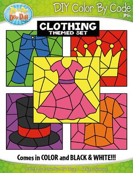 Clothing Color By Code Clipart {Zip-A-Dee-Doo-Dah Designs}