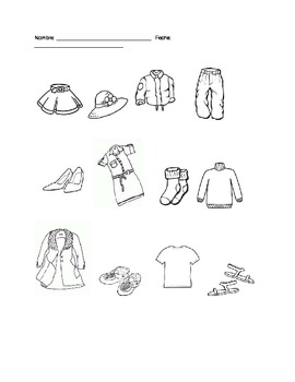 Clothing, Colors Activity for Spanish 1/ ESOL