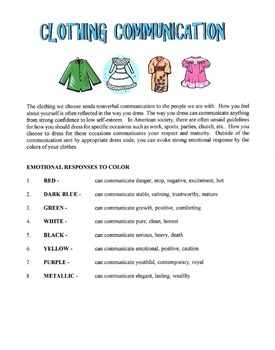 Clothing Colors Communication Lesson