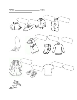 Clothing, Colors, Numbers activity for Spanish 1/ ESOL