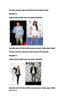 Clothing Description Conversation Cards Hispanic Celebrities