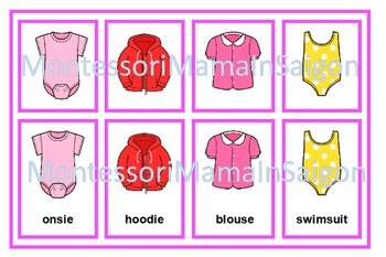 Girl's Clothing Vocaulary Cards - Drawer Labels