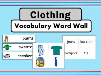 Clothing ESL Vocabulary Word Wall