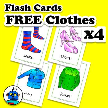 Free ESL Clothing Song Flash Cards - socks, shirt, jacket, shoes.