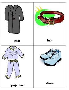 Clothing Flash Cards 2