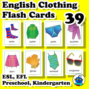 ESL Clothing and Accessories Flash Cards. Socks, shirt, jacket, shoes, pants...