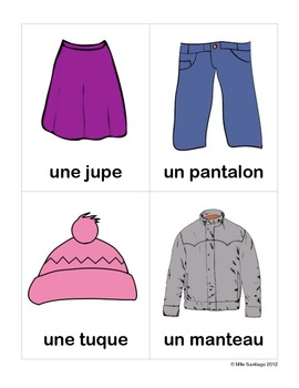 Clothing Flashcards (French) - Les vêtements