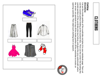 Clothing Interactive Notebook Page