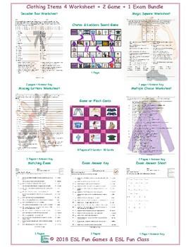 Clothing Items 4 Worksheet-2 Game-1 Exam Bundle