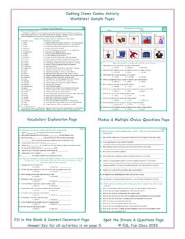 Clothing Items Combo Activity Worksheets